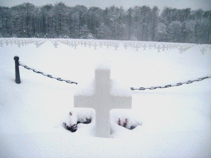 General Patton's grave deeply buried in snow -Luxembourg Dec 2010