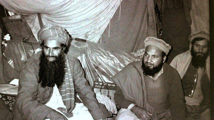 Abdul Rasul Sayyaf -left- Jaji Paktia Afghanistan late August 1984