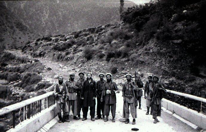 With Yunus Khalis mujahideeen on bridge near Bargam north of Asmar, August 1985 (4th from left).