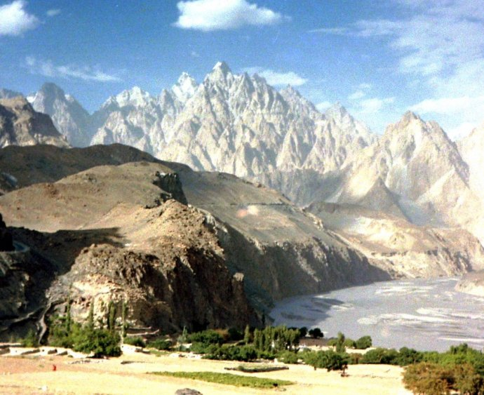 Passu Cathedral peaks above Hunza Valley late August 1985
